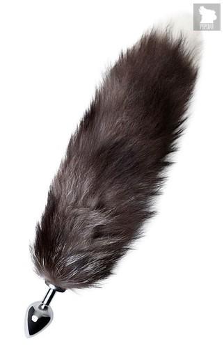 Серебристая металлическая анальная втулка с хвостом чернобурой лисы - размер M, цвет серебряный - Toyfa