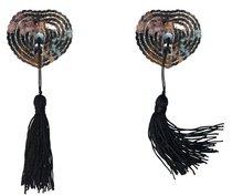 Серебристые пэстисы-сердечки Gipsy с черными кисточками - Lola Lingerie