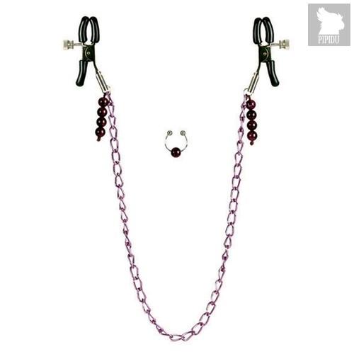 Зажимы на соски Nipple play - Purple Chain Nipple Clamps, с цепочкой и клипсой на пупок, цвет фиолетовый/черный - California Exotic Novelties