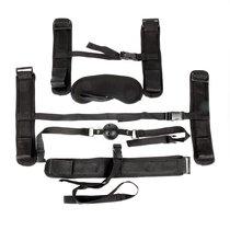 Пикантный черный текстильный набор БДСМ: наручники, оковы, ошейник с поводком, кляп, маска, цвет черный - Bioritm