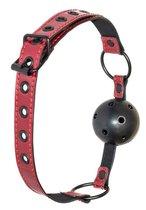 Черно-красный кляп-шарик Love Bite, цвет красный/черный - Lola Toys