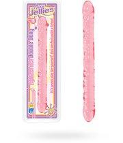 Розовый двухголовый фаллоимитатор Crystal Jellies - 45,7 см, цвет розовый/прозрачный - Doc Johnson