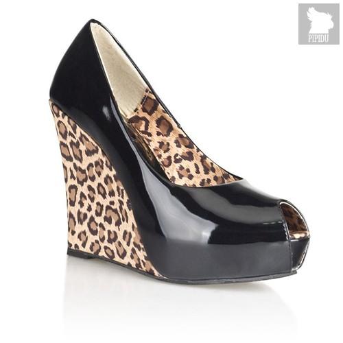 Туфли с леопардовой танкеткой, цвет черный - Hustler Shoes