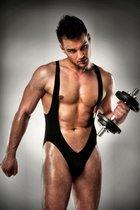 Сексуальное мужское боди с открытыми ягодицами, цвет черный, L - Passion