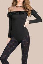 Фантазийные колготки Ellen с вензелями и точками, цвет черный, 2 - Gabriella