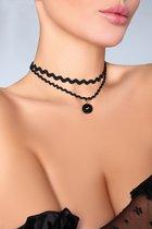 Чокер на шею из узкой и широкой тесьмы, цвет черный, размер OS - Livia Corsetti