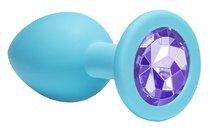 Средняя голубая анальная пробка Emotions Cutie Medium с фиолетовым кристаллом - 8,5 см. - Lola Toys