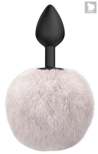 Черная анальная пробка с белым пушистым хвостиком Fluffy, цвет белый/черный - Lola Toys