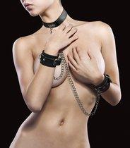 Чёрный комплект для бондажа Leather Collar and Handcuffs, цвет черный - Shots Media