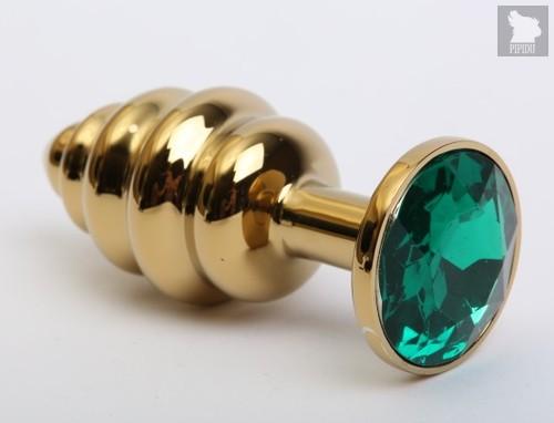 Золотистая ребристая анальная пробка с зеленым стразом - 7,3 см. - 4sexdreaM