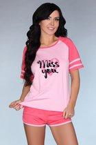 Короткая розовая пижамка Ejiroma, цвет розовый, размер L-XL - Livia Corsetti