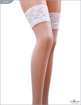 Чулки из мелкой сетки с кружевной резинкой, цвет белый, размер XL - Passion