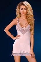 Нежно-розовая сорочка Leslie с кружевным лифом, цвет пудра, размер S-M - Livia Corsetti
