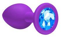 Большая фиолетовая анальная пробка Emotions Cutie Large с голубым кристаллом - 10 см. - Lola Toys