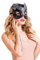 Черная кожаная маска кошечки Cattie, цвет черный - Toyfa
