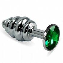 Анальная пробка Metall Curly 2,9 с кристаллом, цвет зеленый - Luxurious Tail