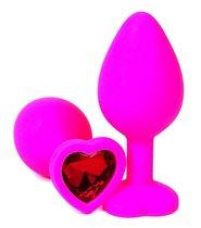 Розовая силиконовая пробка с красным кристаллом-сердцем - 8,5 см., цвет красный - Vandersex
