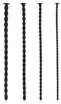 Набор из 4 стимуляторов уретры Silicone Spiral Screw Plug Set Advanced, цвет черный - Shots Media