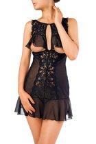 Изысканная сорочка с открытой грудью, цвет черный, L-XL - Erolanta