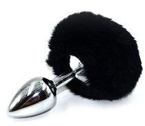 Серебристая округлая анальная пробка с заячьим хвостиком черного цвета - 11,5 см., цвет черный - Kanikule
