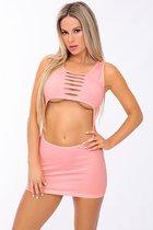 Соблазнительное мини-платье с открытым животиком, цвет розовый, S-L - Pink lipstick