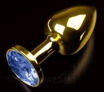 Золотистая анальная втулка с синим стразом - 7 см., цвет синий - Пикантные штучки