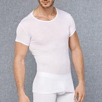 Мужская обтягивающая футболка в мелкий рубчик, цвет белый, L - Doreanse