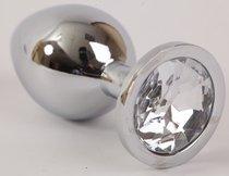 Анальная пробка серебряная с прозрачным кристаллом L 9,5х4см 47064-2-MM - Eroticon