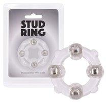 Эрекционное кольцо Stud Ring с бусинами, цвет прозрачный - Seven Creations