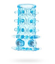 Насадка на фалос Sextoy с шипами и бусинами, цвет голубой - SEXTOY