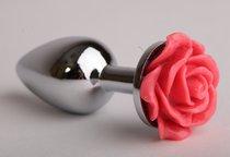 Анальная пробка металл 7,6 х 2,8 см с розой красная размер-S 47180-MM - Eroticon