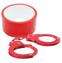 Набор для фиксации BONDX METAL CUFFS AND RIBBON: красные наручники из листового материала и липкая лента, цвет красный - Dream toys