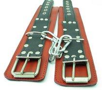 Красно-чёрные наручники из натуральной кожи - БДСМ арсенал
