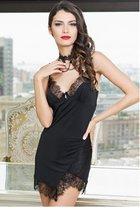 Изысканная сорочка Glamour с асимметричным подолом, цвет черный - Mia-Mia