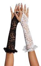Перчатки ажурные удлиненные, цвет черный, S-M - SoftLine Collection (SLC)