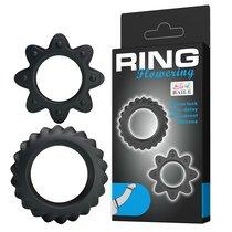 Набор ребристых эрекционных колец Ring Flowering, цвет черный - Baile