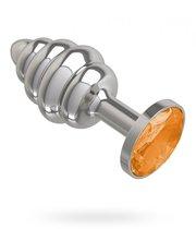 Анальная пробка МиФ Джага Джага Silver Spiral 515-10 с оранжевым кристаллом - 7 см, цвет оранжевый/серебряный - МиФ