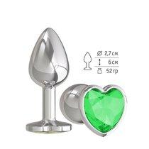 Анальная втулка Silver с зеленым кристаллом сердце маленькая, цвет серебряный - МиФ