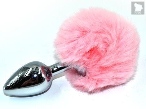 Серебристая округлая анальная пробка с заячьим хвостиком розового цвета - 11,5 см., цвет розовый - Kanikule