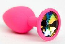 Розовая анальная пробка с радужным стразом - 7,6 см, цвет разноцветный - 4sexdreaM