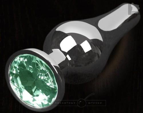 Серая анальная пробка с зеленым кристаллом - 8,5 см., цвет зеленый - Пикантные штучки