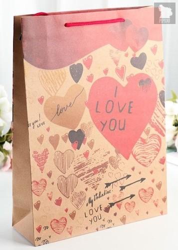 Бумажный пакет с сердечками - 24 х 33 см., цвет разноцветный - Сима-Ленд