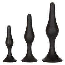 Набор черных силиконовых анальных пробок Silicone Anal Starter Kit, цвет черный - California Exotic Novelties
