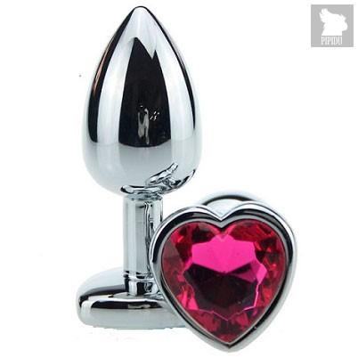 Анальная пробка Heart Silver 2.8 с кристаллом, цвет бордовый - Luxurious Tail