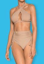 Женский купальник Hamptonella с высокими трусиками, цвет телесный, XXL - Obsessive