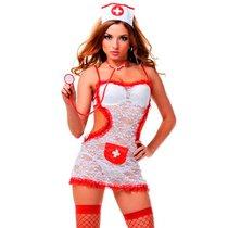 Костюм соблазнительной медсестры, цвет белый/красный, S-M - Le Frivole
