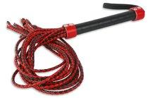 Красно-чёрная плеть-многохвостка с гладкой рукоятью - 77 см, цвет красный - Пикантные штучки