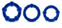 Набор из 3 синих эрекционных колец Stay Hard Beaded Cockrings, цвет синий - Blush Novelties