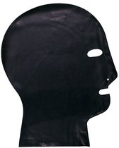 Латексный шлем-маска с прорезями для глаз и дыхания, цвет черный, M - Latexas