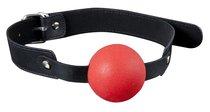 Красный силиконовый кляп-шар с ремешками из полиуретана Solid Silicone Ball Gag, цвет красный - Blush Novelties